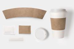 Designbegrepp av modellpapper, socker, kaffecreamer, tandpetare Royaltyfri Fotografi
