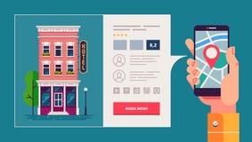 Designbegrepp av sökandet och att boka för hotell direktanslutet Specificerad hotellbyggnad och reservationsapplikationmanöverenh Arkivfoto