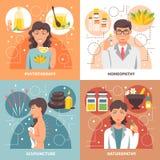 Designbegrepp för alternativ medicin 2x2 stock illustrationer