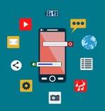 Designbegrepp för mobiltelefonservice och apps Vektor Illustrationer