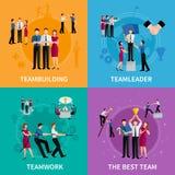 Designbegrepp för teamwork 2x2 Arkivbild