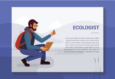 Designbegrepp med en illustration av en ekolog i naturen som tar pr?vkopior fr?n beh?llaren vektor illustrationer