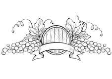 Designbeståndsdelar -- druva med bandet och vinfatet royaltyfri illustrationer