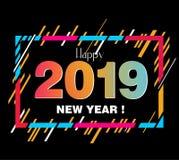 Designbeståndsdelar för lyckligt nytt år 2019 för design av gåvakort stock illustrationer
