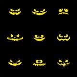 Designbeståndsdelar för uppsättning nio: läskig framsida för halloween pumpor vektor Arkivfoton