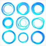 Designbeståndsdelar i blått färgar symboler. Uppsättning 2 Arkivbilder