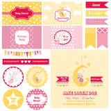 Designbeståndsdelar - baby shower Bunny Theme Royaltyfri Fotografi