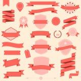 Designbänder und -ausweis des großen Satzes Vector Retro- Gestaltungselemente Lizenzfreie Stockfotos