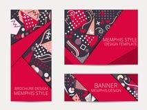 Designbroschüre in Memphis-Art Geometrische Memphis-Musterfahne und -flieger ENV 10 Vektor Stockbild