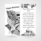 Designe greeting card with abstract hand drawn Stock Photography