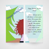Designe greeting card with women in the wood Royalty Free Stock Photography