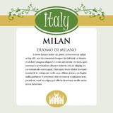 Designe page or menu for Italian products. It can be a guide with information about Italian city of Milan Stock Image