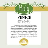 Designe page or menu for Italian products. It can be a guide with information about Italian city of Venice. Royalty Free Stock Photo