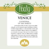 Designe page or menu for Italian products. It can be a guide with information about Italian city of Venice. Royalty Free Stock Photography