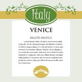 Designe page or menu for Italian products. It can be a guide with information about Italian city of Venice.Rialto Bridge Royalty Free Stock Image