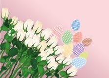 designeaster ägg målad modell vita härliga blommor Royaltyfri Fotografi