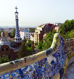 Designed by Antonio Gaudi in Park Guell, Barcelona Royalty Free Stock Image