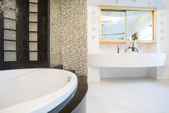 Designed bathroom in expensive residence. Interior of designed bathroom in expensive residence royalty free stock image
