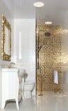 Designed bathroom in luxury modern house. Stylish designed bathroom in luxury modern house stock images