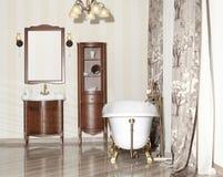 Designed bathroom in luxury modern house. Stylish designed bathroom in luxury modern house royalty free stock image