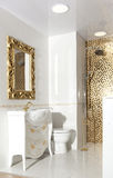 Designed bathroom in luxury modern house. Stylish designed bathroom in luxury modern house stock photography