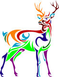 Designed colorful stag  line art image Royalty Free Stock Photography