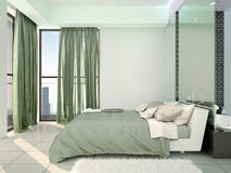Designed in a contemporary style bedrooms. 3d illustration Royalty Free Stock Photos