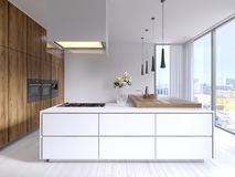 Designed corner white kitchen in the Scandinavian style. With hardwood bar top with pendant lights and hood. 3d rendering stock illustration