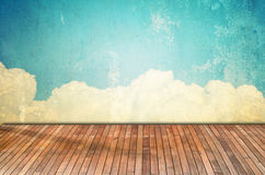 Designed grunge paper texturel with wooden floor Royalty Free Stock Photography