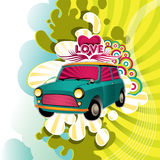 Designed hippie artistic banner. With funny car Royalty Free Stock Image