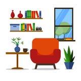 designed home interior living retro room style Για τον ιστοχώρο, τυπωμένη ύλη, αφίσα, παρουσίαση, infographic Επίπεδη διανυσματικ Ελεύθερη απεικόνιση δικαιώματος
