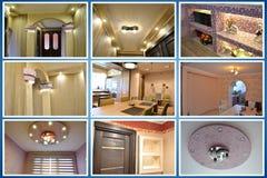 designed home interior living retro room style κολάζ Στοκ Φωτογραφίες