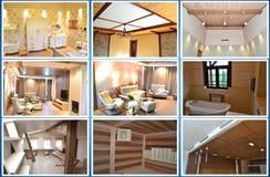 designed home interior living retro room style κολάζ Στοκ Εικόνες