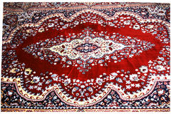 Designed Kashmir Carpet. Designed colorful kashmir carpet displayed in an exhibition, India Stock Photo