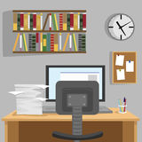 Designed modern workspace at home with desk, monitor, bookshelf, wallclock and pile of papers. Designed modern workspace at home with a desk, monitor, bookshelf Royalty Free Stock Photo