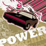 Designed muscle car banner. Designed artistic muscle car banner Royalty Free Stock Photo