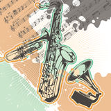 Designed music background. Vintage designed music background with musical instruments Royalty Free Stock Photos