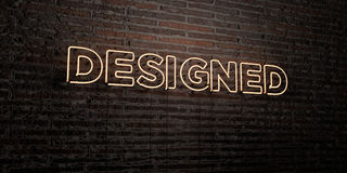 DESIGNED -Realistic Neon Sign on Brick Wall background - 3D rendered royalty free stock image Royalty Free Stock Photos