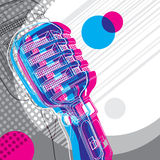 Designed retro banner. Designed banner with microphone and retro graphic elements Royalty Free Stock Photo