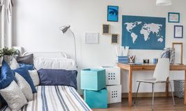Designed room for male teenager. Interior of designed room for male teenager Stock Image
