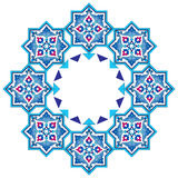 Designed with shades of blue ottoman pattern series seven. Blue patterns series designed utilizing the old Ottoman motifs Royalty Free Stock Photo