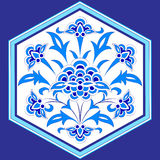 Designed with shades of blue ottoman pattern series twelve. Blue patterns series designed utilizing the old Ottoman motifs Royalty Free Stock Photo