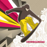 Designed snowboarding banner. Royalty Free Stock Photography