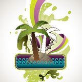 Designed summer banner. With palm tree Stock Photography