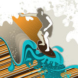 Designed surfing banner. With abstract graphic elements Royalty Free Stock Photography