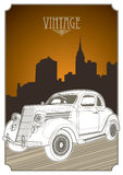 Designed vintage banner. With old car Stock Photo