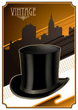 Designed vintage banner. With top hat Stock Photo