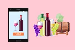 Web Content Concerning Event Vector Illustration. Designed web content shown on phone concerning event in france, bottle of wine, glass and barrel and ripe Stock Images