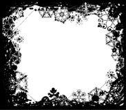 designelement inramniner grungesnowflakevektorn Arkivbilder