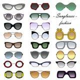 designelementformat som där ställs in solglasögon för samlingsögonexponeringsglas royaltyfri illustrationer